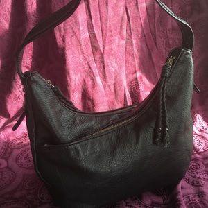 The Sak Double Zip Black Leather Hobo Bag, EUC